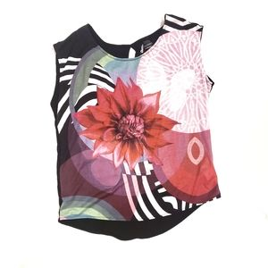 Desigual Floral Abstract Sleeveless Blouse Top